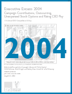 Executive Excess 2004: Campaign Contributions, Outsourcing, Unexpensed Stock Options and Rising CEO Pay