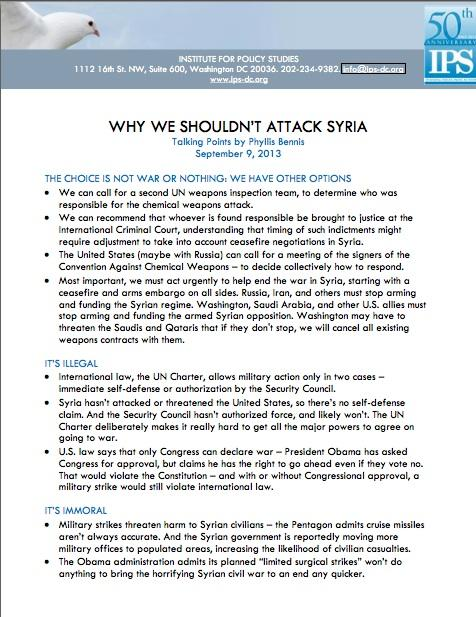 Talking Points: Why We Shouldn't Attack Syria p1