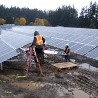 Solar panel workers