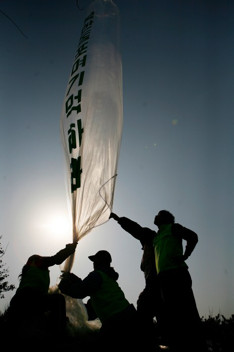 Korean activists launch balloons containing leaflets speaking out against the North Korean regime.