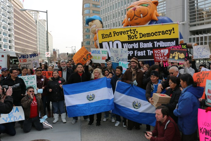 El Salvador rally in front of the World Bank in Washington, DC