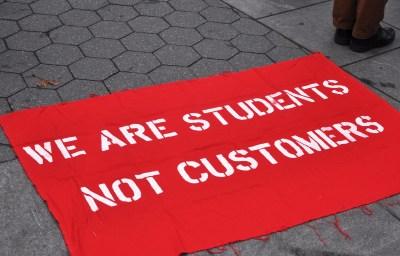 Student debt strike sign