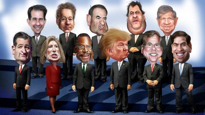 Caricature of GOP candidates