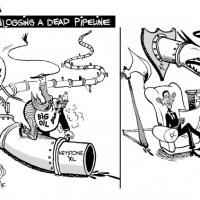 How a Pipeline Becomes a Trophy, an OtherWords cartoon by Khalil Bendib