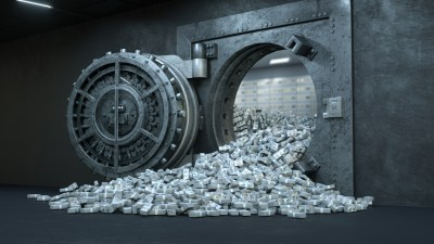 bank vault with lots of money falling out