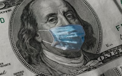 money wearing a coronavirus mask