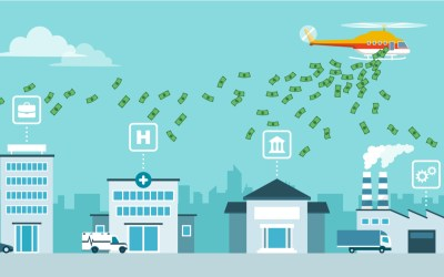 Helicopter money policy as response to covid-19 public health crisis: helicopter distributing currency to prevent economic depression