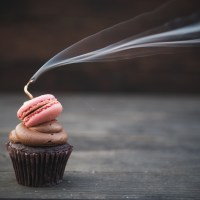 pink cupcake as a gender reveal party prop