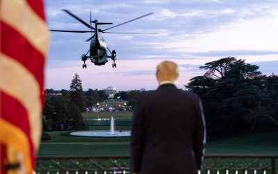 donald trump watching a U.S. helicopter take off