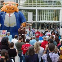 Anti-mining protest outside World Bank in Washington DC