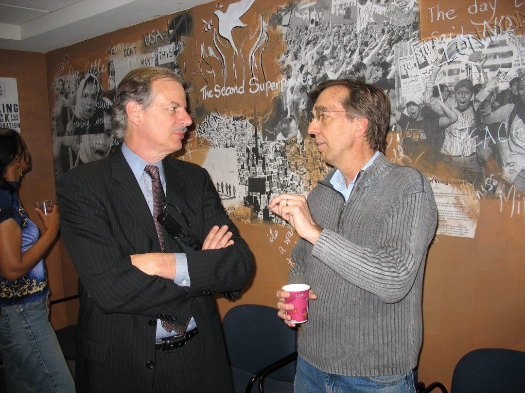 Former IPS Director Bob Borosage and Steve Cobble, IPS conference room, 2006