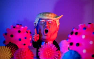 trump shouts while surrounded by covid-19 virus