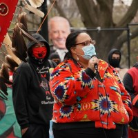 An indigenous woman speaks at the White House about the need to shut down the DAPL and Line 3 oil pipelines to preserve access to clean water