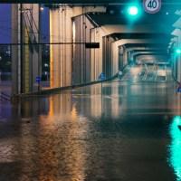 Jamsu Bridge is flooded and blocked due to heavy rain in Seoul : South Korea