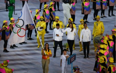 Refugee Olympic Team Walk Into Rio 2016 Olympics Opening Ceremony As They March Under The Olympic Flag at Maracana Stadium in Rio de Janeiro