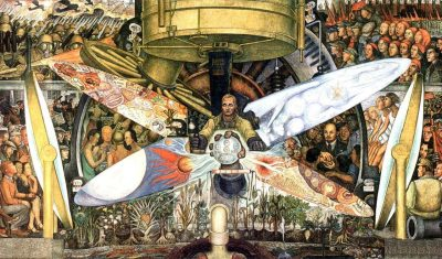 picture of a diego rivera painting: Man at the Crossroads