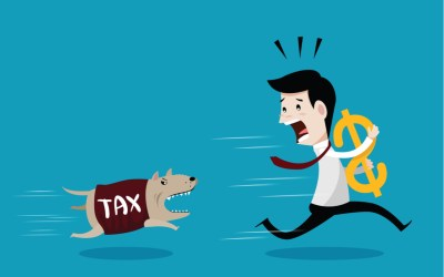 businessman running away from taxes