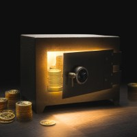 money in a bank safe