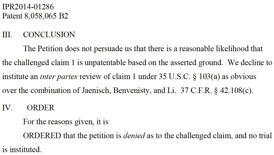 BioGatekeeper, IPS cell patent.