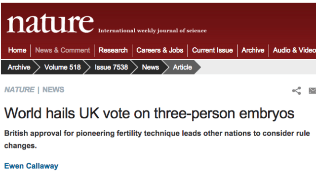 NatureNews Mito Transfer, 3-person IVF