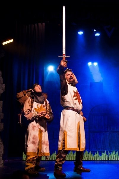 Stem cell spam? Patsy and King Arthur in the Monty Python-related musical Spamalot.