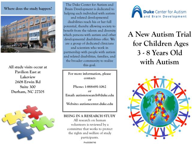 Duke Curemark autism study pamphlet
