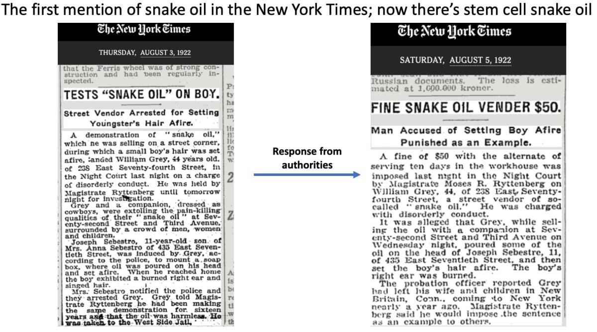 stem cell snake oil new york times