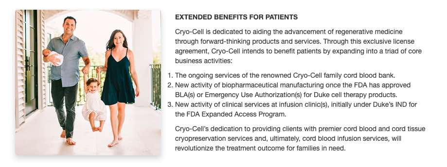 cryo cell duke stem cells autism cp