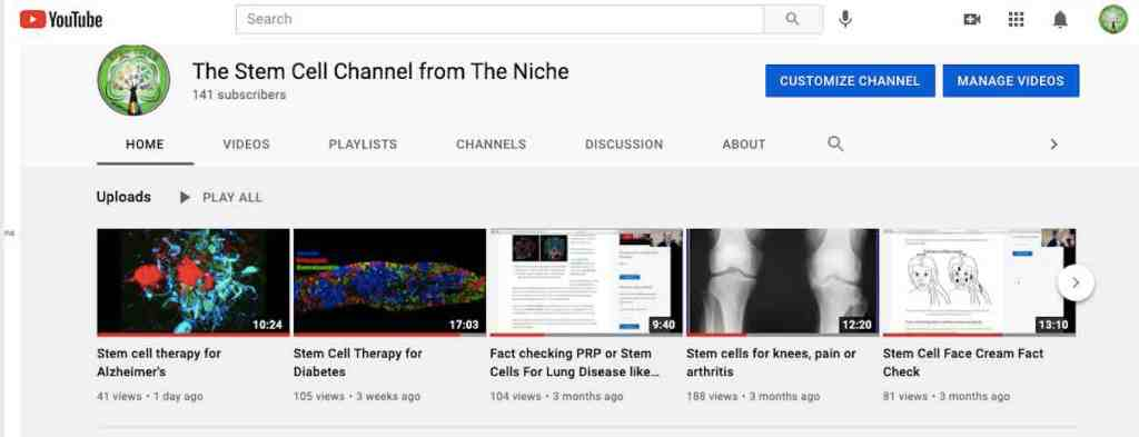stem cell videos, YouTube Channel
