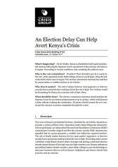 ICG - An Election Delay Can Help Avert Kenya's Crisis