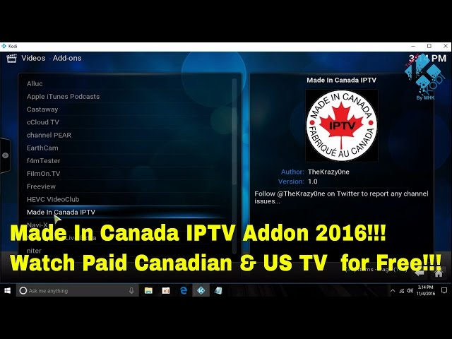 Made In Canada IPTV Addon 2016 – How to install in Kodi to