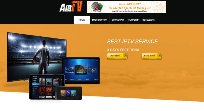 AirTV IPTV Homepage