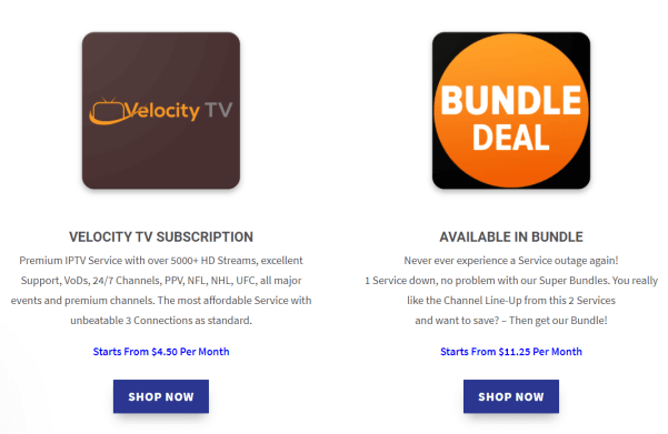 Velocity TV IPTV packages