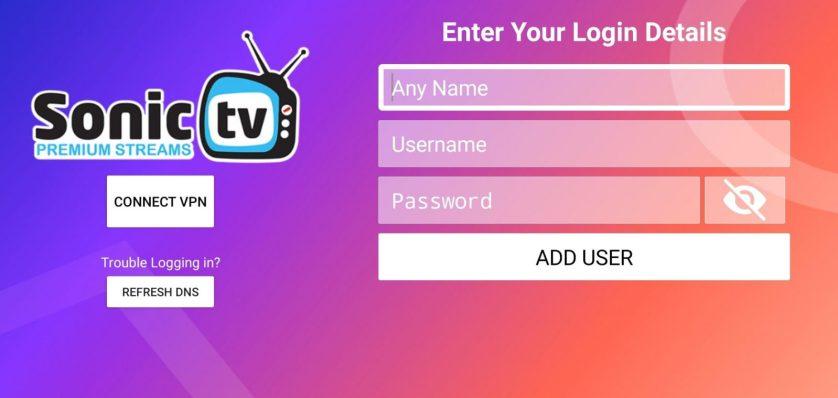 Sonic IPTV - login