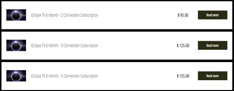 Eclipse IPTV Subscription Packs