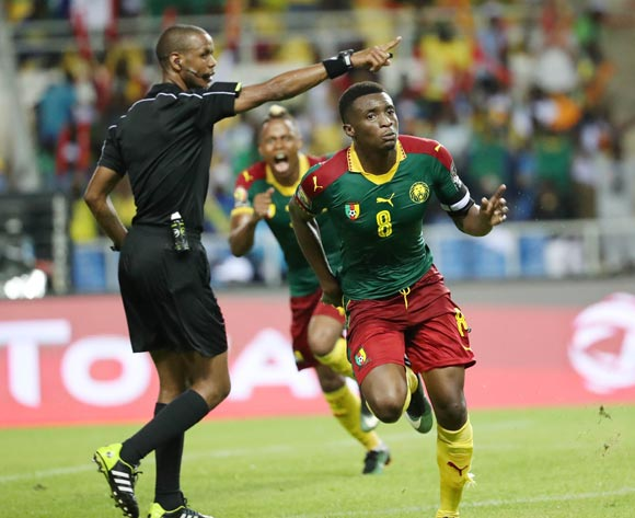 Benjamin Moukandjo of Cameroon celebrates goal during the 2017 Africa Cup of Nations Finals football match between Burkina Faso and Cameroon at the Libreville Stadium in Gabon on 14 January 2017 ©Gavin Barker/BackpagePix