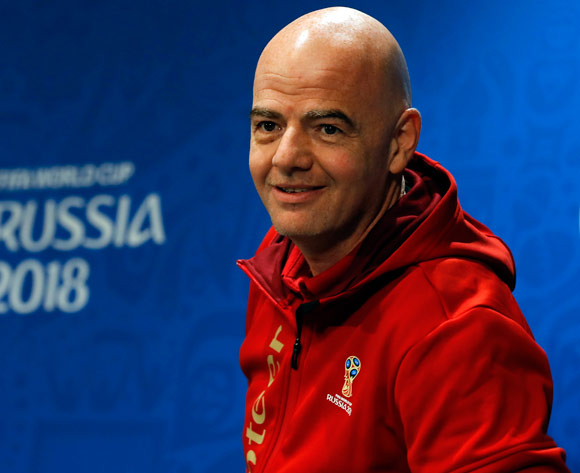 FIFA President Gianni Infantino arrives for a press conference in Moscow, Russia, 13 July 2018. France will face Croatia in the FIFA World Cup 2018 final on 15 July.  EPA/Felipe Trueba