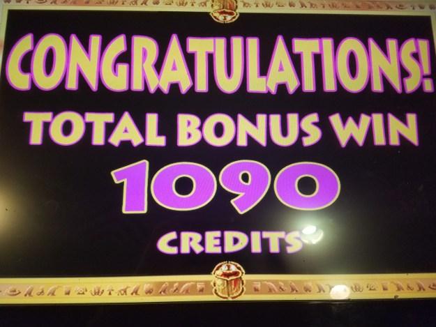 Cleopatra Keno 1090 credit win Binions Las Vegas