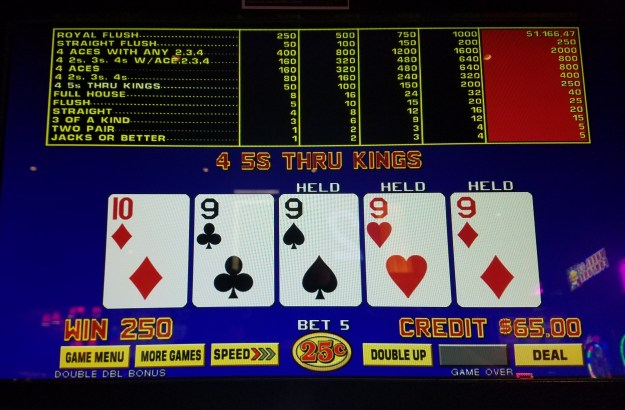 double double bonus video poker quarter nines cromwell las vegas