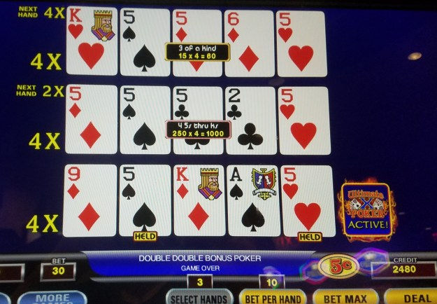 ultimate x video poker fives multiplier ballys atlantic city