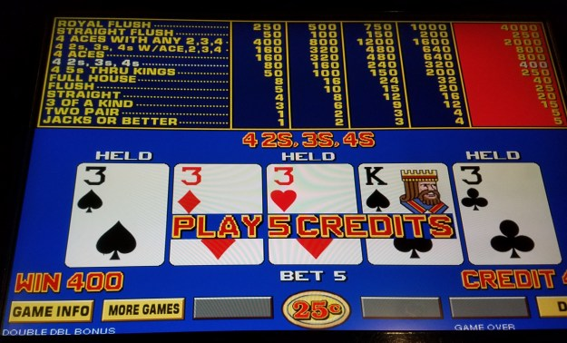 binions las vegas quarter threes double double bonus video poker