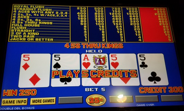 binions quarter fives double double bonus video poker