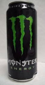 "Black drink can, large green ""M"" like 3 claws, MONSTER with a line through the ""o"" and ""Energy"", all arranged in a vertical line"