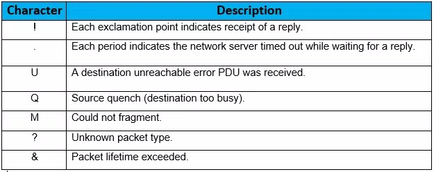 MEANING OF PING RESPONSE FOR IPV4 ADDRESS