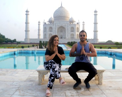 Uttar Pradesh, June 16 (ANI): Tourists spotted on the first day of the reopening of the Taj Mahal, in Agra on Wednesday. (ANI Photo)