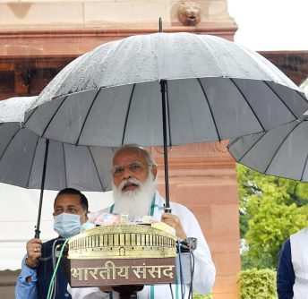 New Delhi, July 19 (ANI): Prime Minister Narendra Modi addresses the media, as it rains on the first day of the Monsoon Session of Parliament, in New Delhi on Monday. (ANI Photo)