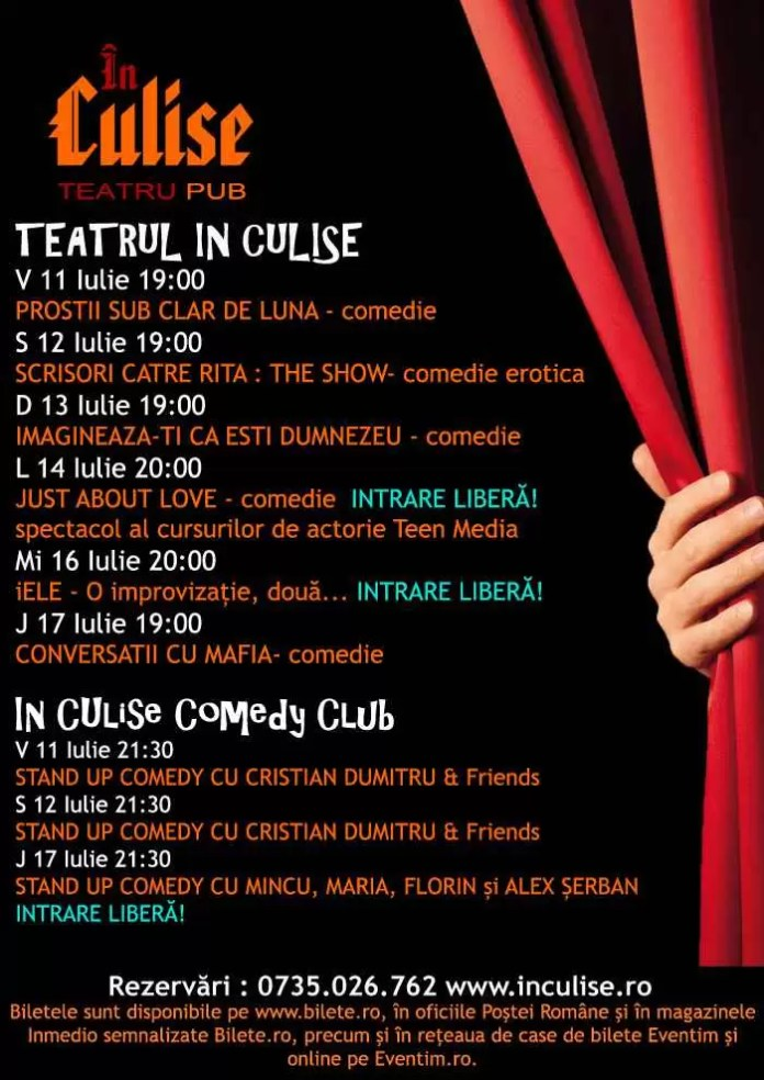 Program In Culise 11 - 17 iulie