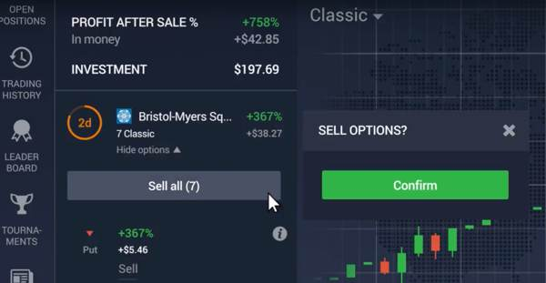 Sell classic options before expiry time
