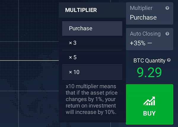 Multiplier for cryptocurrency trading