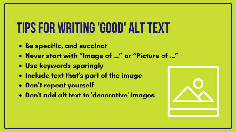 Tips for writing 'good' alt text